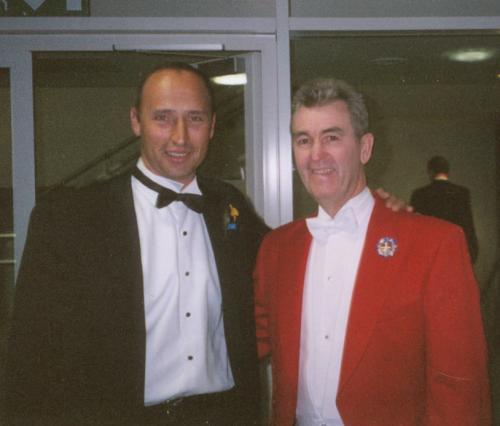 Glen with England Cricket Captain Nasser Hussain